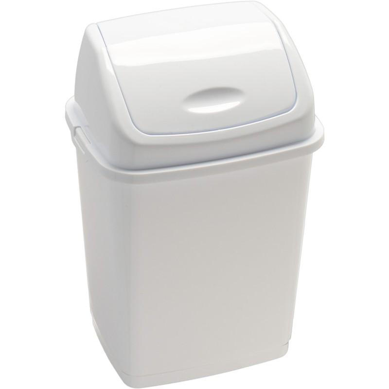 Poubelle basic à couvercle basculant blanche 18 litres