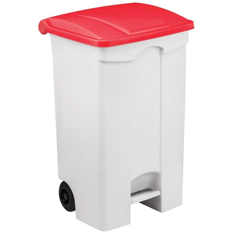 Conteneur mobile à pédale 90 litres avec couvercle de couleur