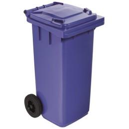 Poubelle plastique à roulette 120 litres bleu
