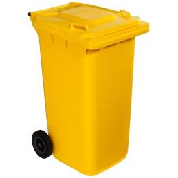 Poubelle plastique à roulette 240 litres jaune