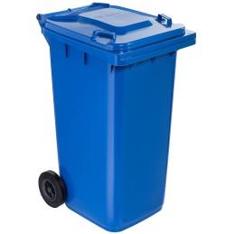 Poubelle plastique à roulette 240 litres bleu