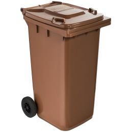 Poubelle plastique à roulette 240 litres marron
