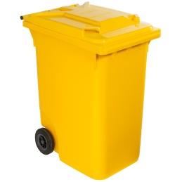 Poubelle plastique à roulette 360 litres jaune