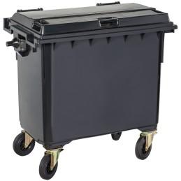 Poubelle plastique à roulette 660 litres noir