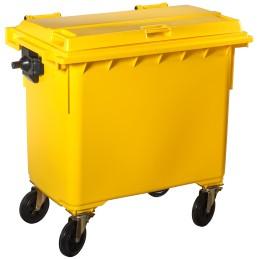 Poubelle plastique à roulette 660 litres jaune