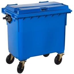 Poubelle plastique à roulette 660 litres bleu