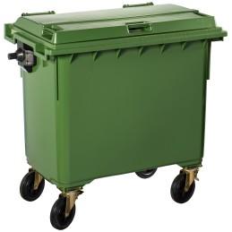 Poubelle plastique à roulette 660 litres vert
