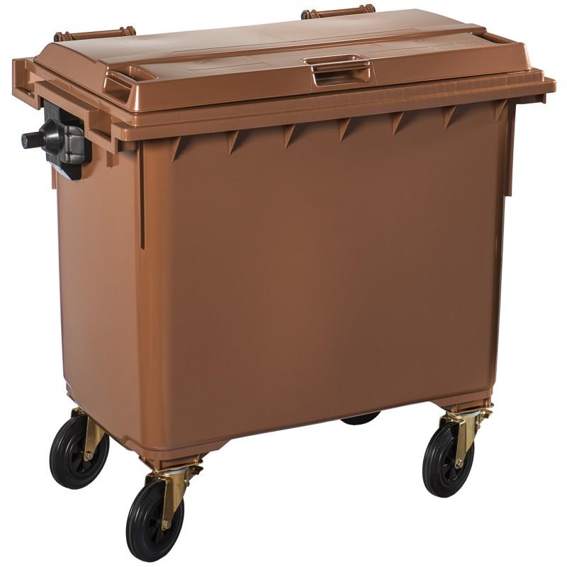 Poubelle plastique à roulette 660 litres marron