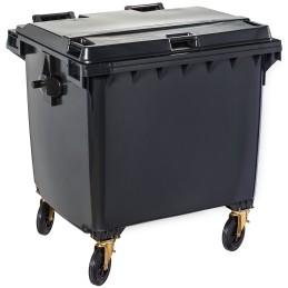 Poubelle plastique à roulette 1100 litres noir
