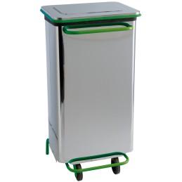 Conteneur vert mobile a pédale à porte amovible 110 litres inox brillant