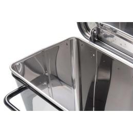 Conteneur mobile a pédale 70 litres inox brillant