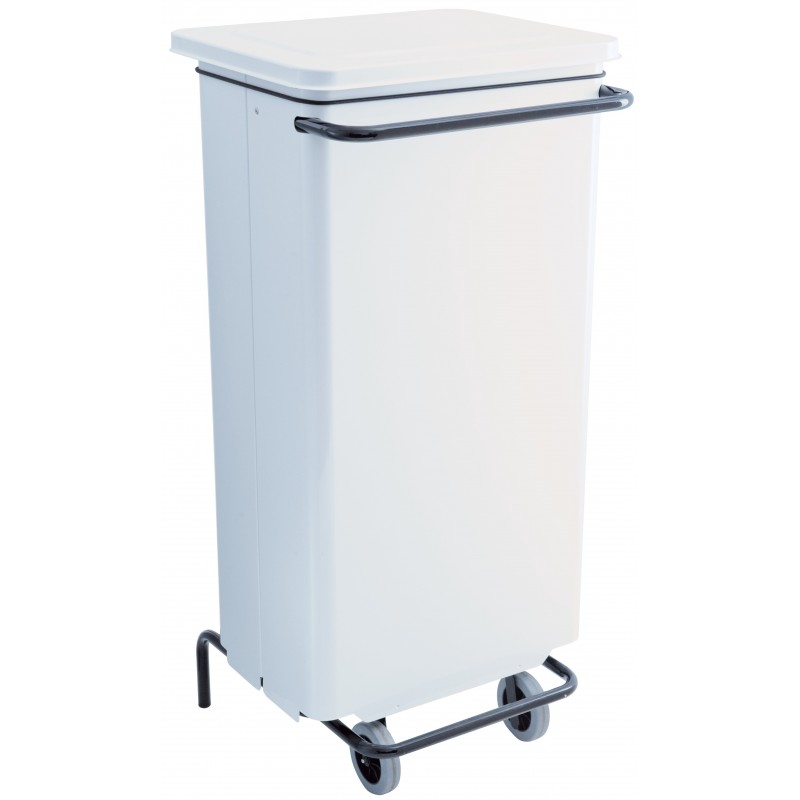 Conteneur mobile a pédale 110 litres blanc