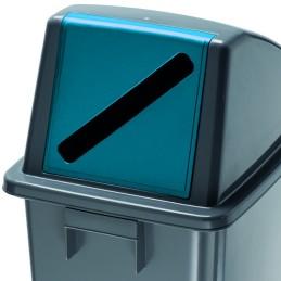 Couvercle de poubelle tri sélective ouverture frontale pour papier 60 litres