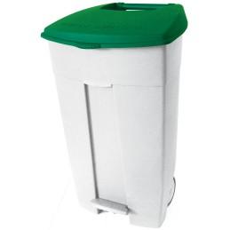 Conteneur poubelle plastique mobile à couvercle vert