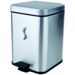 Poubelle carré à pédale inox 5 litres