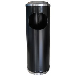 Petit cendrier corbeille acier noir à grille 11 litres