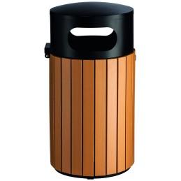 Poubelle ronde imitation lame bois sécurisée 40 litres